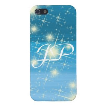 Monogram on a blue sky with shining stars iPhone 5/5S cases