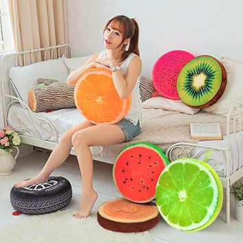 New Creative 3D Summer Fruit PP Cotton Office Chair Back Cushion Sofa Throw Pillow Size 33/40cm NVIE