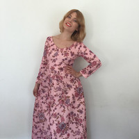 Maxi Vintage dress 1970s Flower power maxi dress baby pink long boho hippy gown UK 8 V neckline handmade 70s  long sleeves