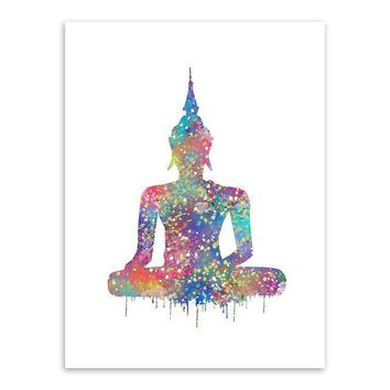 Watercolor Point Buddha Zen Poster Big Peace Wall Canvas Art
