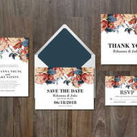 Wedding Invitation Suite Digital & Instant Download Printable Templates - beautiful flowers