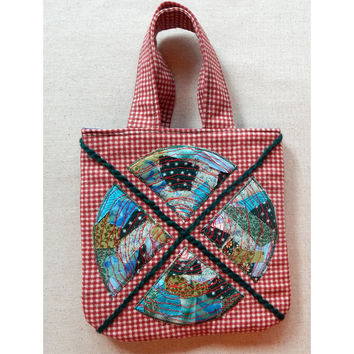 Fiber Art Lunch Bag Red Gift Bag Red Checked Mini Tote Bag Geometric Art Free Motion Stitching Upcycled OOAK