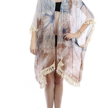 Brown Floral Print Sheer Cover Up Poncho