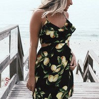 Holding On Black Sleeveless Lemon Printed Dress
