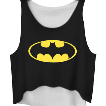 Batman Print Sleeveless Cropped Tank