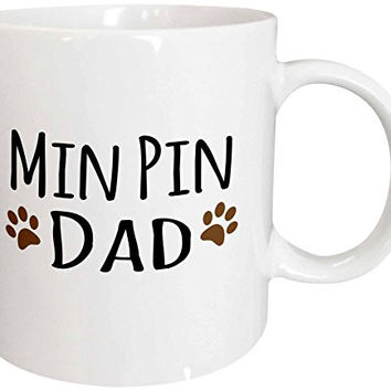 3dRose Min Pin Dog Dad Miniature Pinscher Doggie By Breed Brown Muddy Paw Prints Doggy Lover Pet Owner Ceramic Mug, 11 oz, White