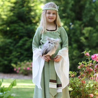 Childs Green Princess Costume - Lord of The Rings Style Dress