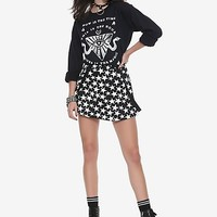 Tripp Black & White Star Print Suspender Skirt