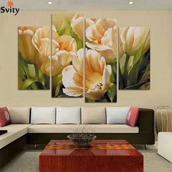 Fashion 4 Panel Wall Art oil painting tulip flower Paintings print Painting On Canvas decoration  for living room pictures H109