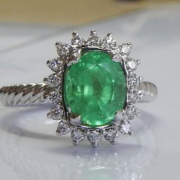 Engagement Emerald Ring White Gold ring Diana Ring Oval shape 14K White gold  Diamond Frame Emerald May Birthstone