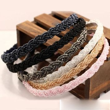 1 pc Fashion Women Bead Rhinestone Crystal Head Chain Headband Piece Hair Band Girl hairband hair accessories