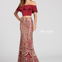 Ellie Wilde EW118127- Wine/Gold