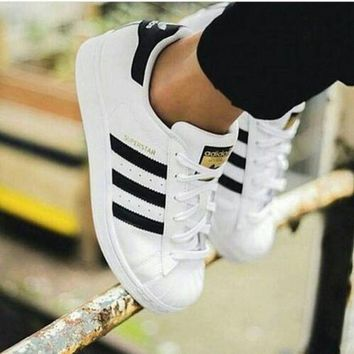DCCKIJG Adidas' Fashion Shell-toe Flats Sneakers Sport Shoes White Black Golden For women