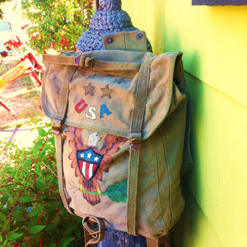 Vintage 1944 WW2 Canvas Rucksack Hand Painted by USMC Soldier Eagle Design 40's Hand Camo Folk Art Americana Miltary OOAK Backpack Bag Usa