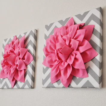 "TWO Pink Wall Flowers -Bright Pink Dahlia on Gray and White Chevron 12 x12"" Canvas Wall Art- Baby Nursery Wall Decor-"