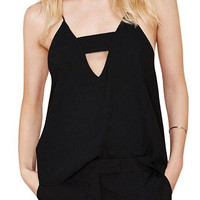Black Cami with Front Cut Out