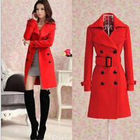 Women Girl Wool Blend Military Trench Coat Belted Double-Breasted Long Jacket = 1956871428