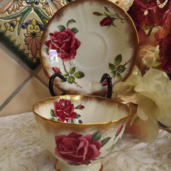 Vintage Adderley Teacup and Saucer with Red Rose and Heavy Gilt Trim - English Bone China - Pattern H1177