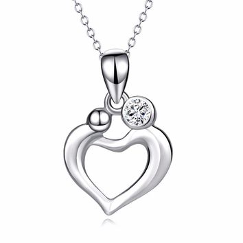 Sterling Silver Love Heart Mom And Child Mother Love Pendants Necklaces