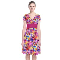 Spring Hearts Bohemian Artwork Short Sleeve Front Wrap Dress