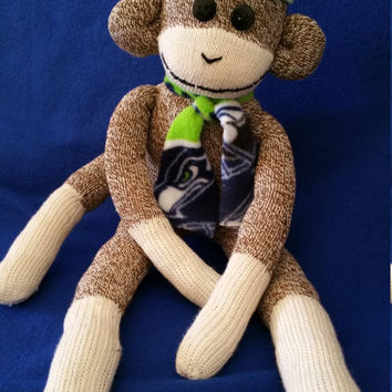Seattle Sea Hawk Monkey, Handcrafted Monkey, Seattle Sea Hawk