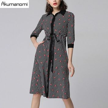 Spring Striped Dress Lip Print Turn-down Collar Lace Up Sashes Three Quarter Sleeve Women's Clothes Autumn Dress Plus Size 5XL