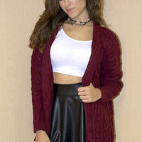 Dora Cable Knit Cardigan - Burgundy