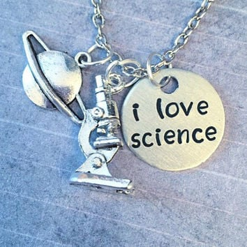I Love Science Necklace - Science Jewelry - Chemistry Jewelry - Biology Jewelry - Scientist, Biologist, Astronomist, Chemist