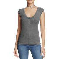 Free People Womens Waffle Knit Cap Sleeves Casual Top