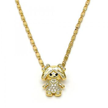 Gold Layered 04.195.0011.18 Fancy Necklace, Little Girl Design, with White Micro Pave, Polished Finish, Golden Tone