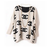 Chanel Inspired Logo Sweater | hudiefly