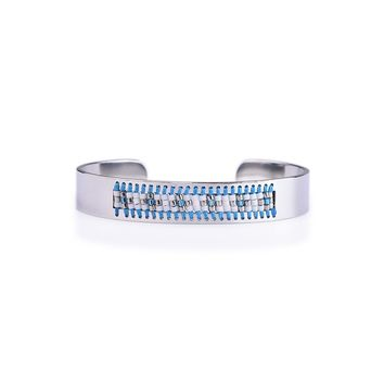 Cross Sun Symbol Silver and Turquoise Seed Tribal Bead Bangle
