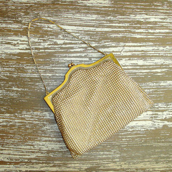 Vintage Whiting & Davis Gold Mesh Purse, Evening Bag, Handbag, Clutch with Metal Chain, In Box, 1930s 1940s, Lined, Great Gatsby, Art Deco