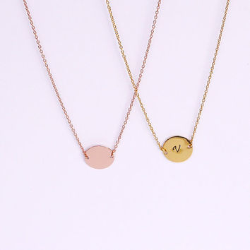 Vermeil Initial Necklace - Rose Gold Tag Necklace Uppercase Personalized Wedding Gift Ideas Bridal Party Best Friend Necklace Meaningful