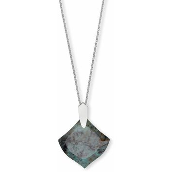 Kendra Scott: Aislinn Silver Long Pendant Necklace In African Turquoise