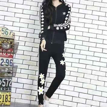 """Adidas"" Fashion Casual Stripe Flower Print Long Sleeve Cardigan Cotton Sweater Set Tw"