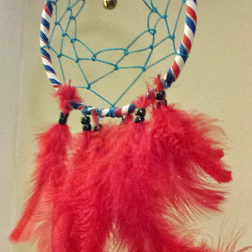 """Handmade 6"""" Dream Catcher, Legend of the Dreamcatcher, Native American Indian Wall Decor, Housewarming Gift, Patriotic Red White Blue"""