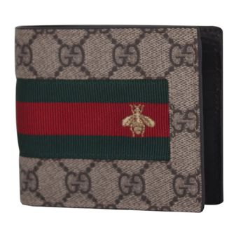 GUCCI Men's New Web GG Supreme Half Wallet 408827 KLQCN 8461 - Authentic