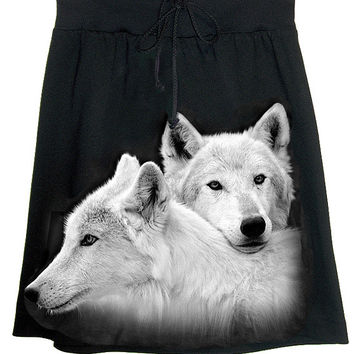 Wolves Siblings Photo Print T-Shirt Skirt