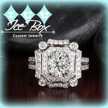 Moissanite Engagement Ring 6 x 7mm 1.5ct Oval in a 14K White Gold Diamond Art Deco Halo Setting