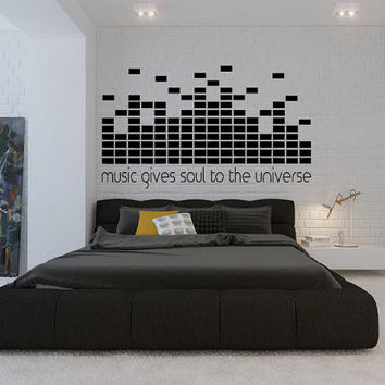 Music Gives Soul To The Universe - Wall Decal - DJ Decal - Home Decor - Studio Decor - High Quality Vinyl Graphic