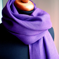 Linen  Scarf / Wrap / Shawl / Stole  Deep Purple by BVLifeStyle