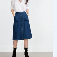 Denim Blue Button Midi Skirt