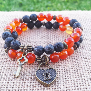 Couples Bracelet Carnelian Black Lava Bracelet His Hers Bracelet Key To My Heart Heart Key Charm Bracelet Stacks Bracelet Set