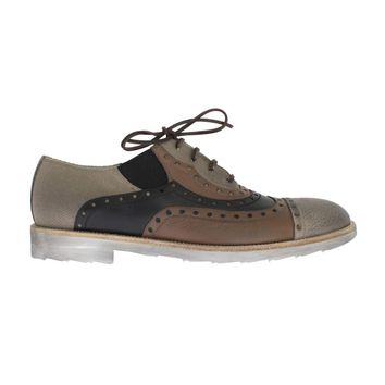 Dolce & Gabbana Beige Brown Leather Wingtip Shoes