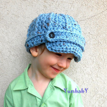 Blue Newsboy Brimmed Crochet Toddler Boy Hat Photography Prop