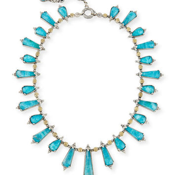 Konstantino Chrysocolla Doublet Staggered Station Necklace, 16