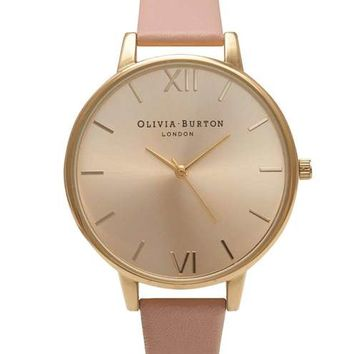 **Olivia Burton Dusty Pink & Gold Big Dial OB14BD31 Watch - Watches - Bags & Accessories