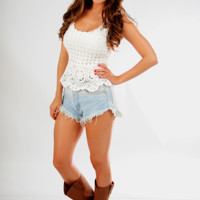 Crazy For Crochet Top: White - One