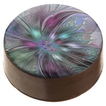 Colorful Fantasy, abstract and modern Fractal Art Chocolate Dipped Oreo